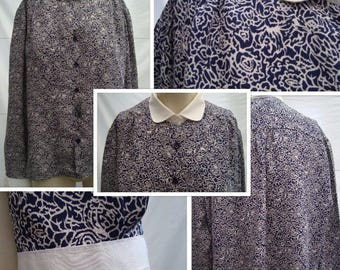 80's Peter Pan Collar Blouse (M/L)