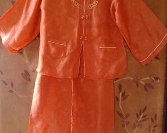 80s Tangerine coloured Japanese pyjama set