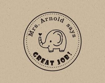 elephant stamp -Teacher Stamp - Teacher's Great Job Custom Stamp- Teacher Stamp - teacher gift - custom stamp - classroom stamp