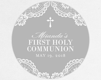 Lace Communion Labels, First Communion Favor Labels, First Communion Stickers, Printed Communion Tag, Girl Communion Labels, Gray, Printed
