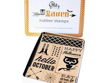 Glitz Design Raven Stamp Tin Set NEW