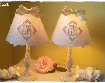 pair of patinated old lamps, Lampshade vintage monograms