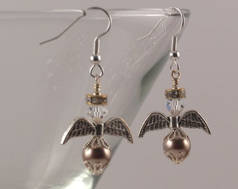 Bronze Swarovski crystal pearl angels earrings with gold halos