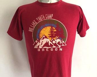 Vintage Unisex 90's Oregon, Camping, T Shirt, Red, Short Sleeve (S)