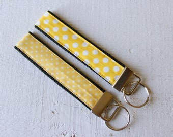 Key Fob Wristlet with Choice of Size Yellow Dots Fabric by Riley Blake