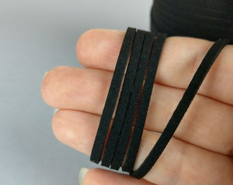 Black Suede Cord, 3mm, Vegan Cord, 1/5m, Faux Suede Cord, DIY Necklace, Boho Necklace, C101