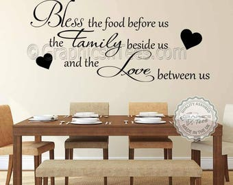 Bless The Food Before Us Inspirational Family Wall Sticker Quote Kitchen Dining Room Art Decor