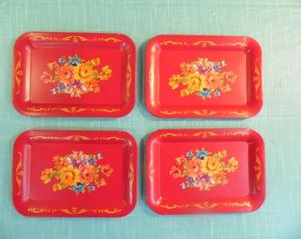 Vintage Red Toleware Trays - Set Of 4 - Red Metal Tip Trays