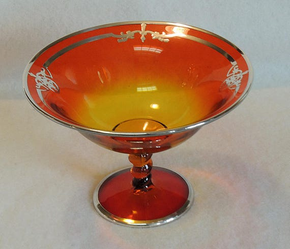 Vintage Amberina Footed Compote With Art Deco Sterling Silver Overlay.. Rare!