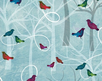 Autumn Hues - 4201-11 - Blue Trees & Birds - by Alexa Kate Design from Studio E