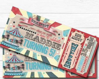 """Personalized """"Vintage Carnival"""" Circus Ticket Birthday Party Digital Printable 8.5x11"""" Invitation"""