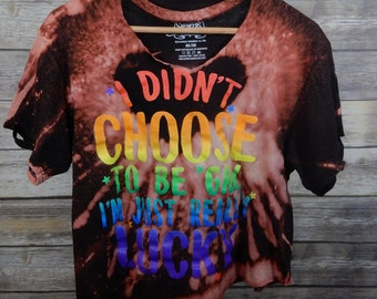 Vintage Inspired Custom Bleached LGBTQ Pride T-Shirt M