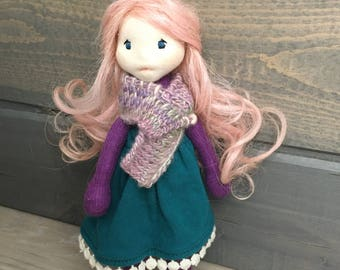 Natural fiber waldorf inspired doll with pink hair