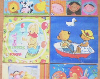 Lot 6 Winnie the Pooh, bears, children, animals paper napkins