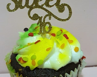 12 Gold Sweet 16 Party Picks - Cupcake Topper - Toothpicks - Food Picks Die Cut Punch Cardstock