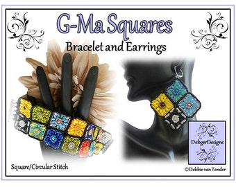 Beading Pattern, Tutorial, Bracelet and Earrings - G-MA SQUARES