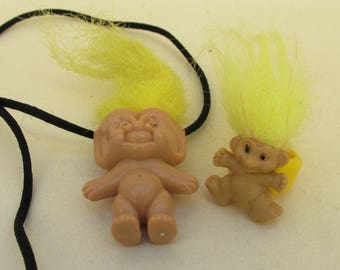 Vintage Troll Necklace and Troll Ring - Crazy Yellow Hair