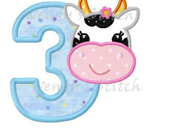 cow birthday applique number 3 machine embroidery design digital download