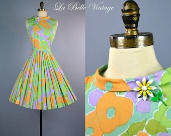 Full Skirt Floral Print Dress S Vintage Colorful Cotton Sundress ~ Metal Enamel Floral Brooch/Pin