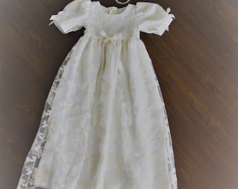 Baptism Gown-Lace Christening gown-Heirloom traditional baptism dress-Royal christening gown-Dedication-Naming Ceremony -Bautismo-Ivory Gown