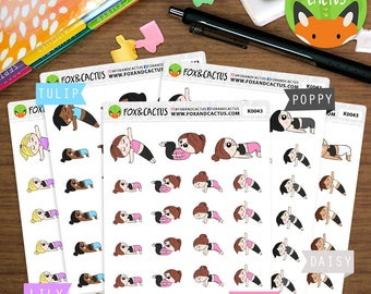 Pilates Kawaii Girls - Fitness Workout Exercise Abs - Planner Stickers (K0043)