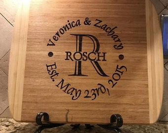 Custom Cutting Board, Personalized Serving Platter, Custom Name Sign, Engraved Cutting Board: Wedding Gift, Housewarming Gift, Mother's Day