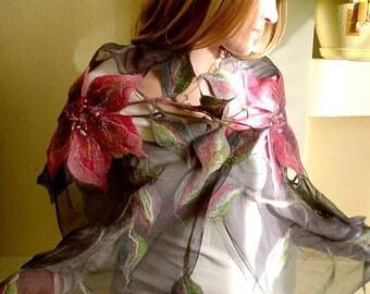 """Nuno felted scarf """"FLOWERS"""""""
