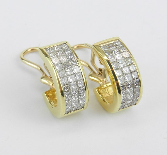 18K Yellow Gold 2.75 ct Diamond Invisible Set Princess Cut Earrings Omega Clips