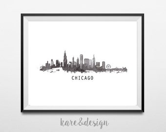 Chicago Skyline Printable Art, Cityscape, Instant Download, Watercolor, Wall Art Decor, Black and White, Poster, Monochrome, Travel, Paint
