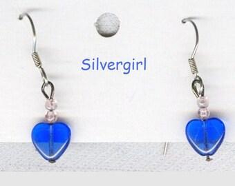 Dainty Blue Glass Heart Earrings