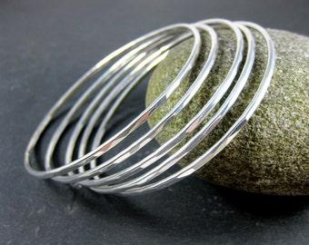 Silver Bangle Bracelets, Set of 5 Sterling Silver Bracelets, Stack of Bracelets, Simple Hammered Solid Silver Stacking, Minimalist Jewelry