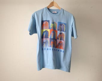 vintage STONEHENGE color block andy WARHOL style POP art faded blue t-shirt