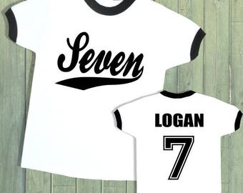 7th Birthday Ringer Tee with Graphics on Front & Back. Personalized with Name and Age. [2nd 3rd 4th 5th 6th 8th 9th Birthday Shirt] (32146)