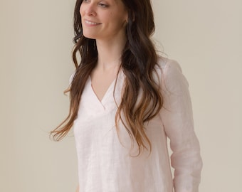 Linen - V Neck Linen Tunic Length Top, 3/4 Sleeve, Relaxed Fit, Linen Top