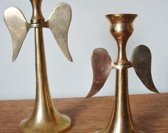 Vintage Brass Angel Wing Candle Stick Holders