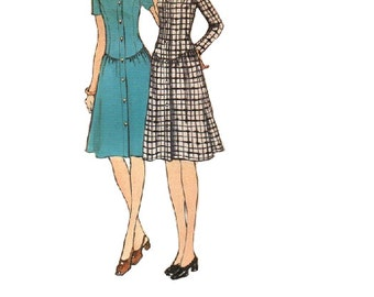 70s Drop Waist Dress Vogue 8211 Sewing Pattern Retro Style Gathered Skirt Fitted Bodice Anne Hall Uncut Bust 32