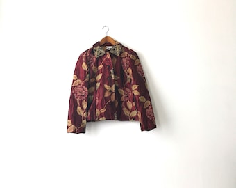 Silky Floral 90s Jacket - Petite Small // Floral Jacket // Floral Blazer / Womens Blazer / Flower Jacket / 90s Jacket / Womens Blazer / 90s