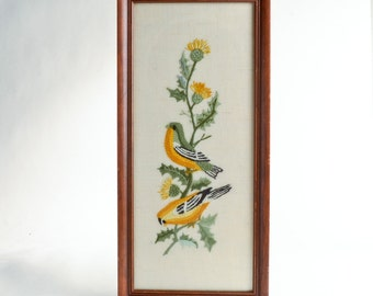 Vintage crewel embroidery birds thistle – Mid-Century framed art – bird art – bird décor green yellow gold
