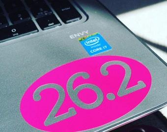 Mini 26.2 Marathon Running Oval Vinyl Cut-out Sticker