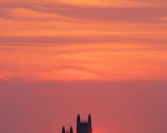 Sunrise, National Cathedral,D.C: archival print signed and matted