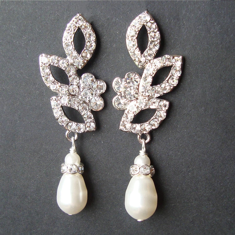 Vintage Style Earrings: Vintage Inspired Bridal Wedding Earrings Swarovski Crystal