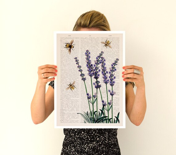 Bees over lavender flowers Flower art, Eco friendly art,Wall art poster, Lavender flower art, Bees art, BFL117PA3
