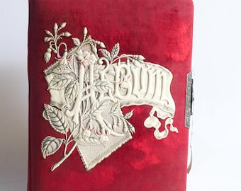 Gorgeous Deep Red Photo Album With Ivory Colored Embossed Detail