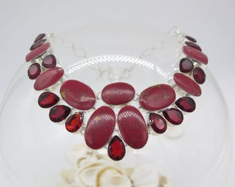 Red Copper Turquoise and Garnet Sterling Silver Necklace