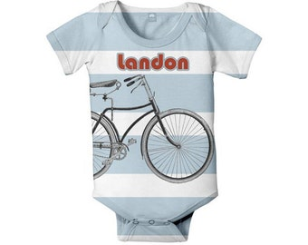 Boy's Bicycle Bodysuit, Personalized Baby Bike One Piece Outfit, Custom Onepiece Baby Clothing