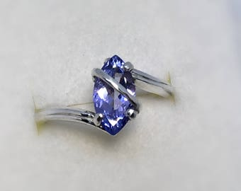 Tanzanite Ring, 1.27 Carats, 12x6mm Marquis, Sterling Silver, Size 7