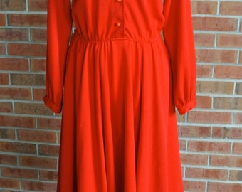 Vintage Red Dress // 1970's Button Top Red Dress