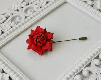 Small Red Leather Rose Flower Lapel Brooch