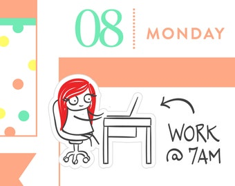 P021 - Work planner stickers, office stickers, laptop stickers, youtube planner, computer stickers, 24 stickers, MINI size
