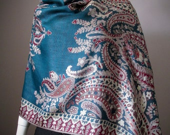 Peacock,Dark teal, Pashmina Shawl, Bridal Wrap,Infinity Scarf,Vintage Paisley,Mothers day gift,Bridesmaid gift,Gift for Her,Winter scarf